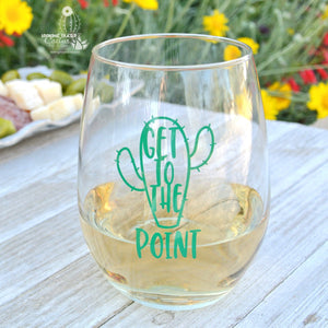 "Funny Cactus Gift for a Wine Lover - ""Get To The Point"" with Cute Cactus"