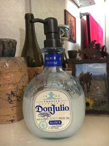 Don Julio Blue Glass Soap Dispenser for Bathroom Kitchen - Tequila Bottle