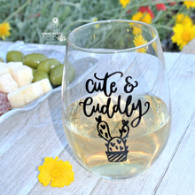 "Funny Cactus Gift and Wine Gift - ""Cute & Cuddly"" Wine Glass For Cactus Lover Mom Wife"