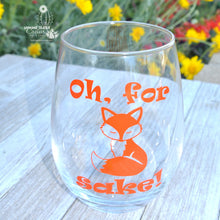 Funny Wine Gift * Oh For Fox Sake * Stemless Wine Glass With Fox