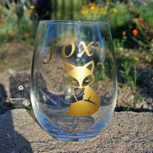 Stemless Wine Glass  * Foxy *  Funny Fox Wine Glass / Wine Gifts