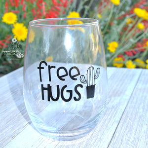 "Funny Cactus Wine Tumbler - ""Free Hugs"" - Cute Cactus Gifts & Wine Gifts for Her"