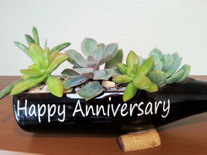 Happy Anniversary Gift - Wine Bottle Planter Garden with Message