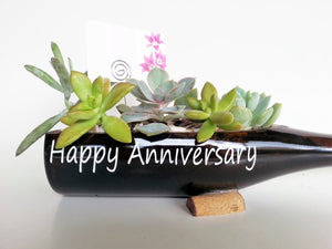 Happy Birthday Gifts - Wine Bottle Planter Garden (empty) with Message