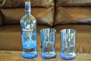 2 Blue Drinking Glasses - Pinnacle Vodka Tumblers - Vodka Gifts