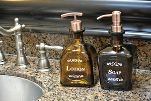 Don Julio Anejo Bathroom Soap Dispenser - Amber Glass Soap Pump for Bathroom Kitchen