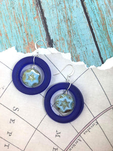Wine Bottle Jewelry - BLUE Upcycled Glass Earrings - Best Friend Gift -Silver Cobalt