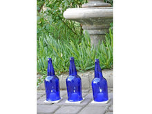 Cobalt Blue Wine Bottle Candle Holders WITH TILE- Candle Cover Hurricane Lamp Centerpiece