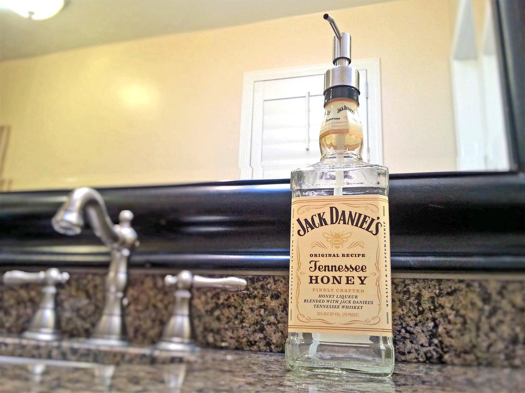 LARGE Jack Daniels Tennessee Honey Glass Soap Dispenser - Home Bar Decor