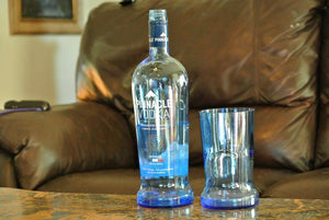 Blue Drinking Glass - Pinnacle Vodka Drinking Glass - Unique Gift