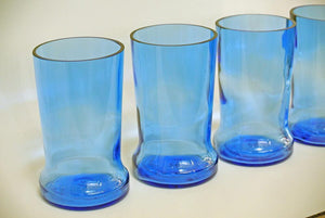 2 Blue Pinnacle Vodka Glasses