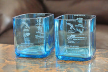 4 Bombay Sapphire Blue Drinking Glasses - Tumblers  - High Ball Glasses - Liquor Bottle Glasses