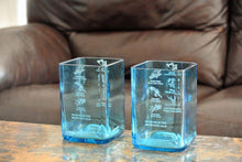 TWO Bombay Sapphire Blue Drinking Glasses -Tumblers - Liquor Bottle Glasses - Alcohol Gifts