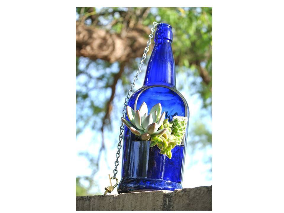 Blue Wine Bottle Planter