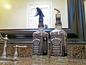 Set! Large Jack Daniels Whiskey Soap Dispenser and Spray Bottle - Mens Gift or Barber Gift
