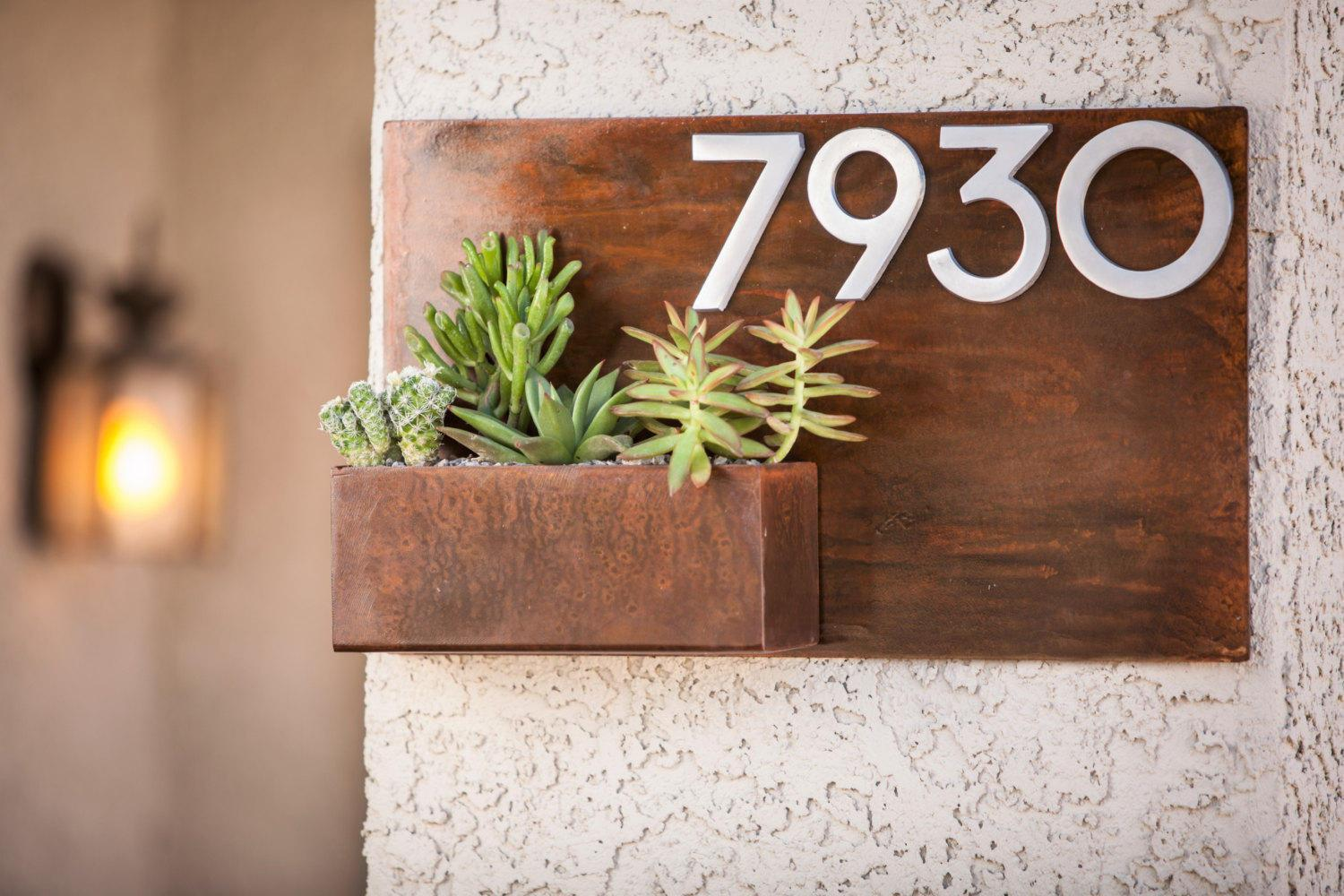 Modern Metal Address Planter Gives Curb Appeal | Looking Sharp Cactus