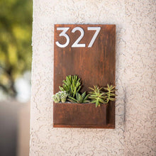 Modern Metal Address Planter Gives Curb Appeal - Rustic Metal Address Sign with Vertical Garden