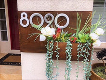 Modern Metal Address Planter Gives Curb Appeal - Rustic Metal Address Plaque - Metal Address Numbers