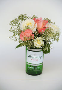 Tanqueray Gin Vase - Green Glass Bottle Decor