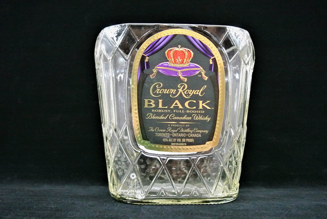 Crown Royal Black - Candy Dish - Snack Bowl or Glass Vase - Great Whiskey Gift