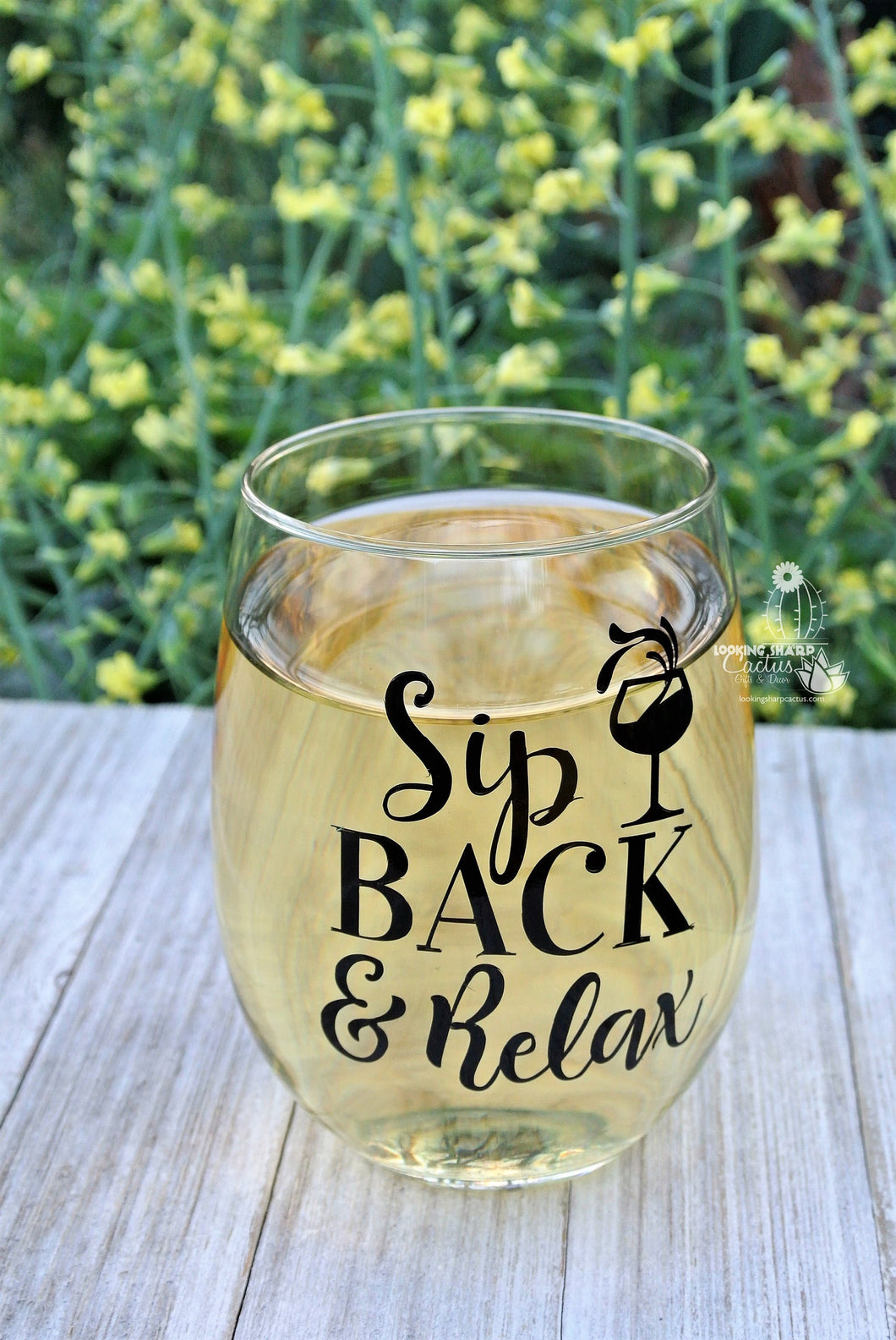 Sip Back & Relax - Stemless Wine Lover Gift - Mom Wine Glass