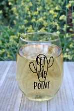 "Funny Wine Glass Gift ""Get To The Point"" with Cute Cactus"