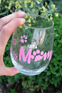 Wine Gift for Dog Lover Mom - Gift From Daughter or Son - Paw Print Wine Glass