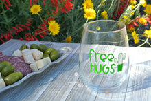"Funny Cactus Wine Gift - ""Free Hugs"" with Cute Cactus on Stemless Wine Glass"