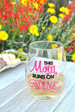 This Mom Runs On Wine - Wine Glass - Wine Gifts for Mom Best Friend Wife