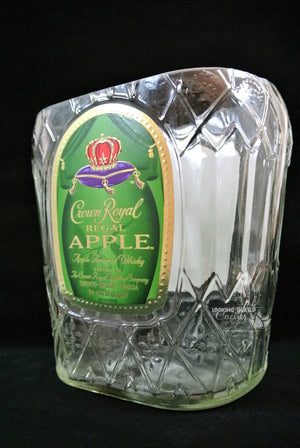 Crown Royal Regal Apple Bottle Candy Dish - Snack Bowl or Glass Vase  - Whiskey Gift