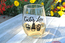 """Cactus Love"" Stemless Wine Glass for Wine & Succulent Lover - Funny Cactus Gift"