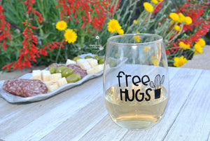 Cactus Wine Tumbler * Free Hugs * Funny Stemless Wine Glass Makes a Cute Cactus Gift