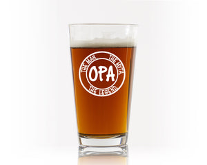 Personalized Beer Mug or Pint Glass for Grandpa - Celebrate Him Becoming a Grandpa / Opa