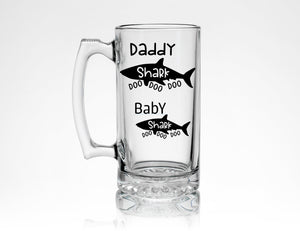 * Daddy Shark & Baby Shark Beer Mug Doo Doo Doo * Beer Lover Gift for Dad - Gift from Daughter