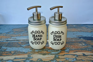 Set of 2 Rustic Mason Jar Dish and Hand Soap Dispensers