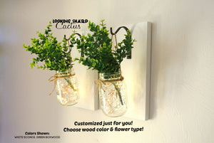 Set of 2 - Hanging Mason Jar Wall Sconce with Flowers