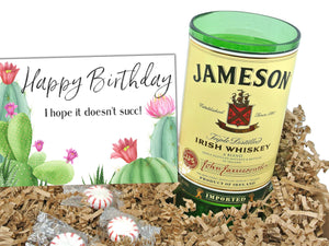 Funny Happy Birthday Jameson Gift Box - with Whiskey Glass, Vase or Kitchen Utencil Holder