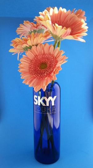 Blue Glass Skyy Vodka Vase - Flower Vase - Vodka Gift