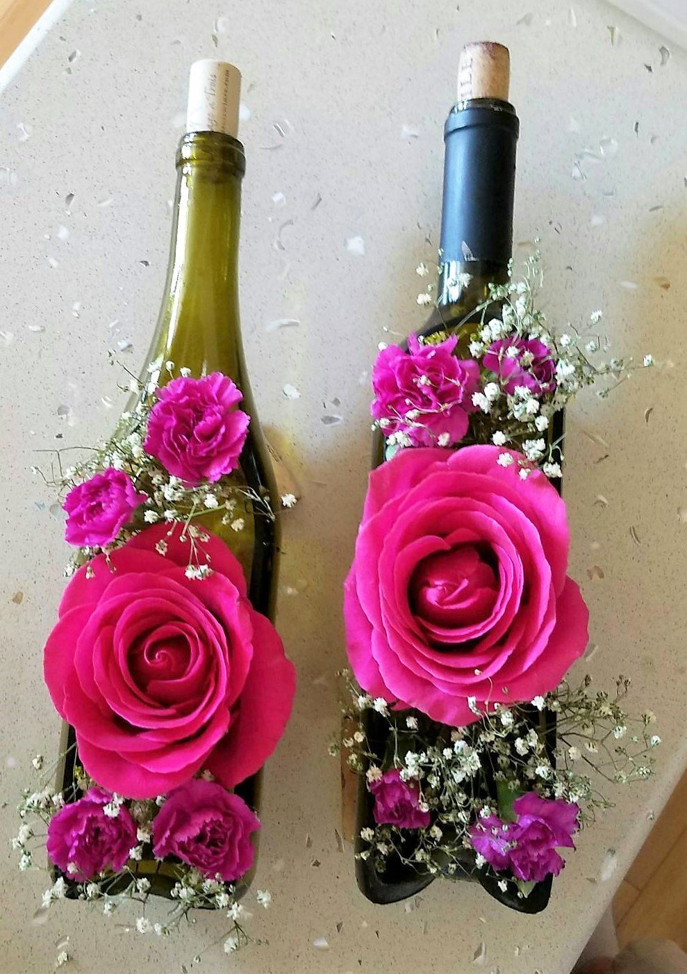 Wine Bottle Flower Vase - Wedding Centerpiece or Wine Gift - Wine Bottle Decor