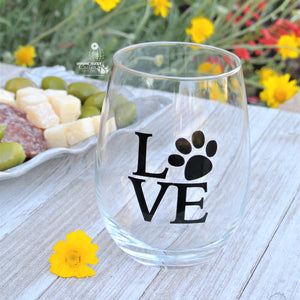Mom Wine Gift - Dog Mom Paw Print Stemless Glass / Mothers Day Gift From Daughter Son
