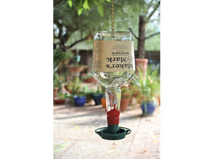 Makers Mark Glass Bird Feeder for Garden - Bottle Bird Feeder - Whiskey Gift