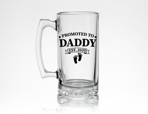 Custom New Dad Beer Mug * Promoted to Daddy Est 2020 (your date) * Personalized