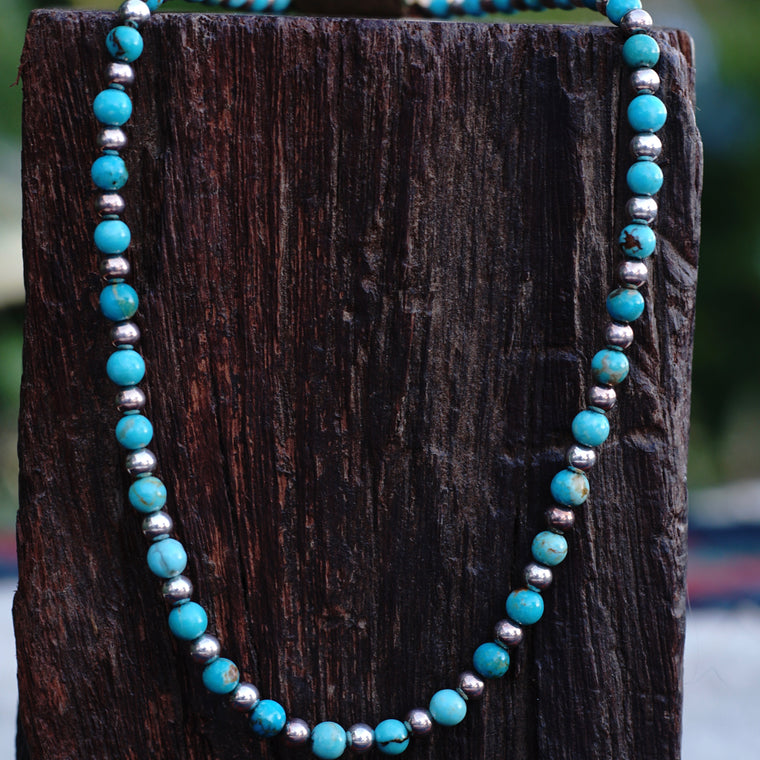 Carolyn Pollack Turquoise and Sterling Beaded Necklace