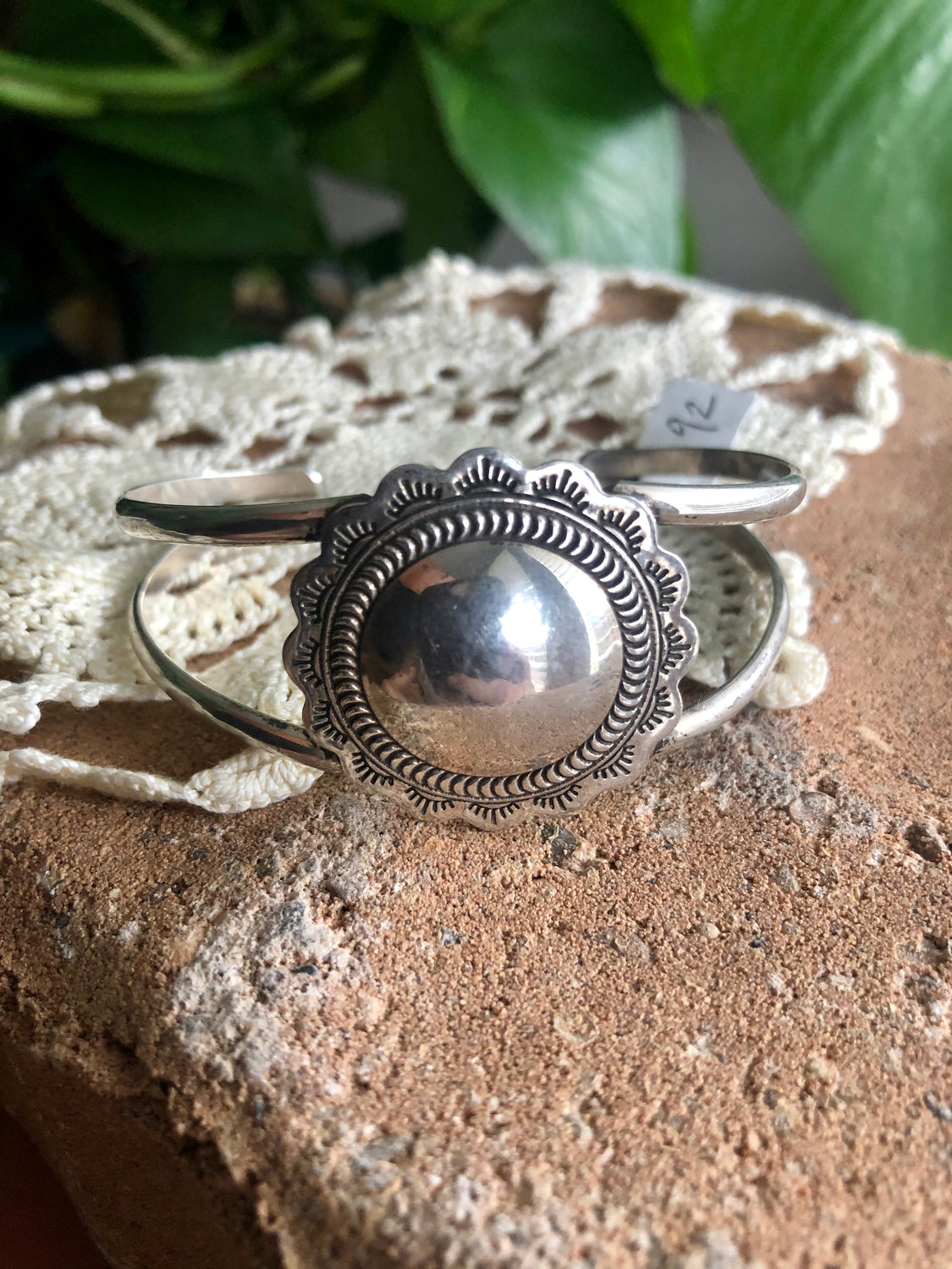 Sterling Flower Pendant Cuff