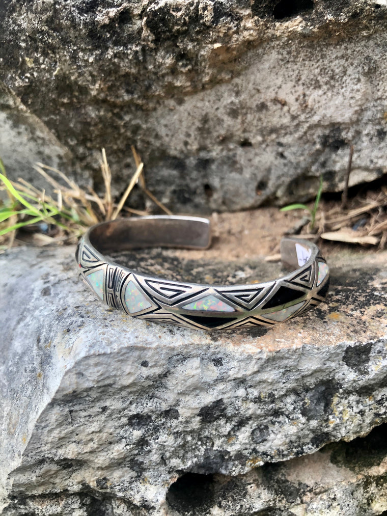 Black Onyx & Opal Inlay Cuff