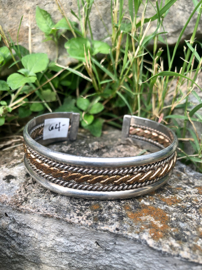 Sterling Silver & Gold Rope Cuff