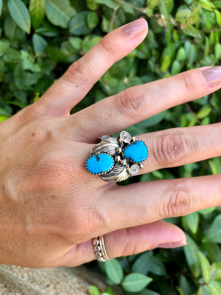 Navajo Turquoise 2 Stone Ring