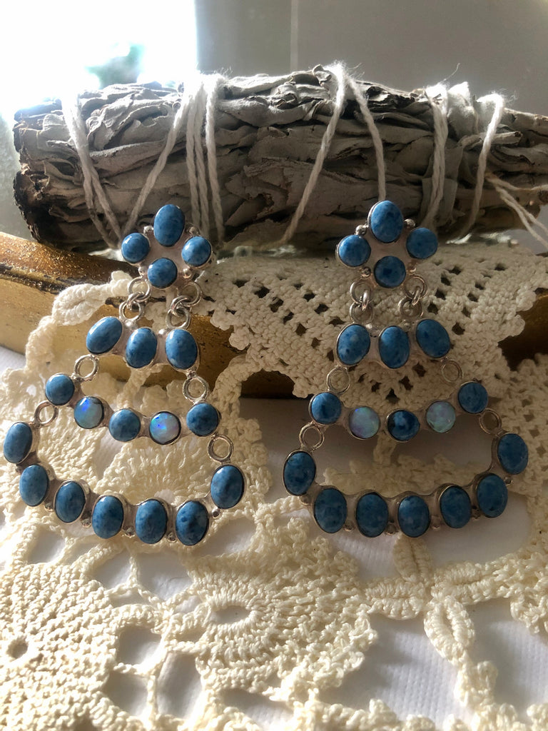 Lapis & Opal Chandelier Earrings