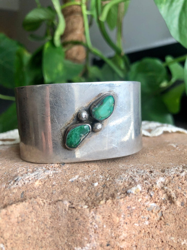 Wide Sterling & Turquoise Cuff