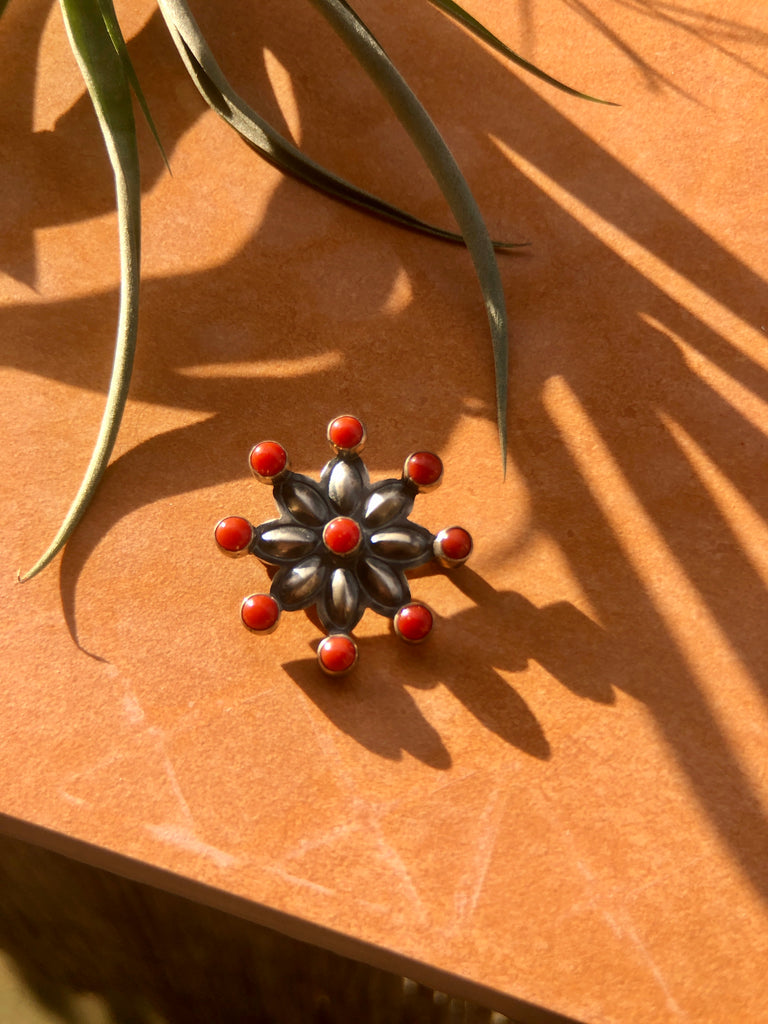 Coral Flower Pin